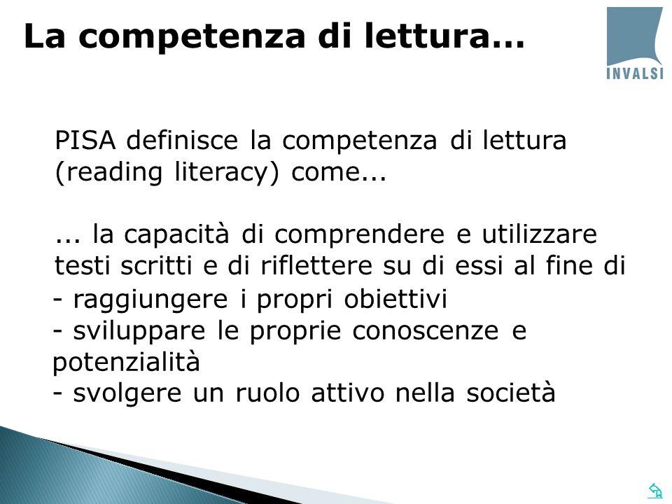 PISA definisce la competenza di lettura (reading literacy) come...... la capacità di comprendere e utilizzare testi scritti e di riflettere su di essi