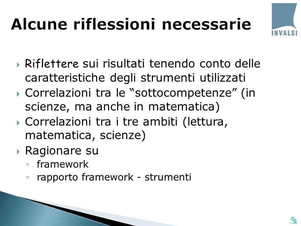 Riflettere sui risultati tenendo conto delle caratteristiche degli strumenti utilizzati Correlazioni tra le sottocompetenze (in scienze, ma anche in matematica) Correlazioni tra i tre ambiti (lettura, matematica, scienze) Ragionare su framework rapporto framework - strumenti