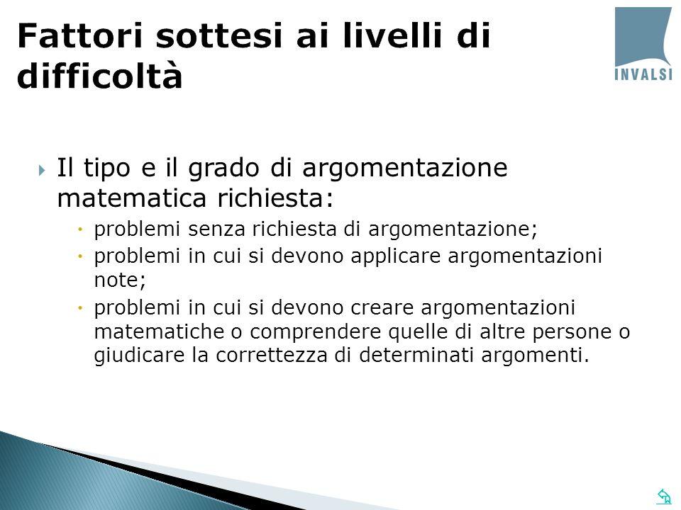 Il tipo e il grado di argomentazione matematica richiesta: problemi senza richiesta di argomentazione; problemi in cui si devono applicare argomentazi