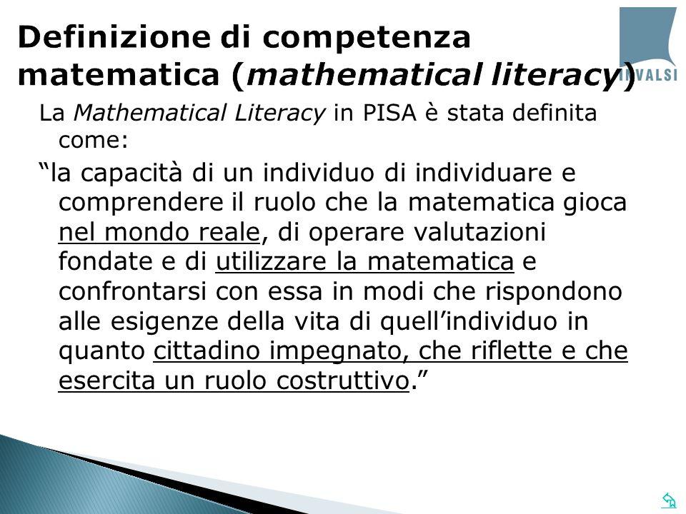La Mathematical Literacy in PISA è stata definita come: la capacità di un individuo di individuare e comprendere il ruolo che la matematica gioca nel
