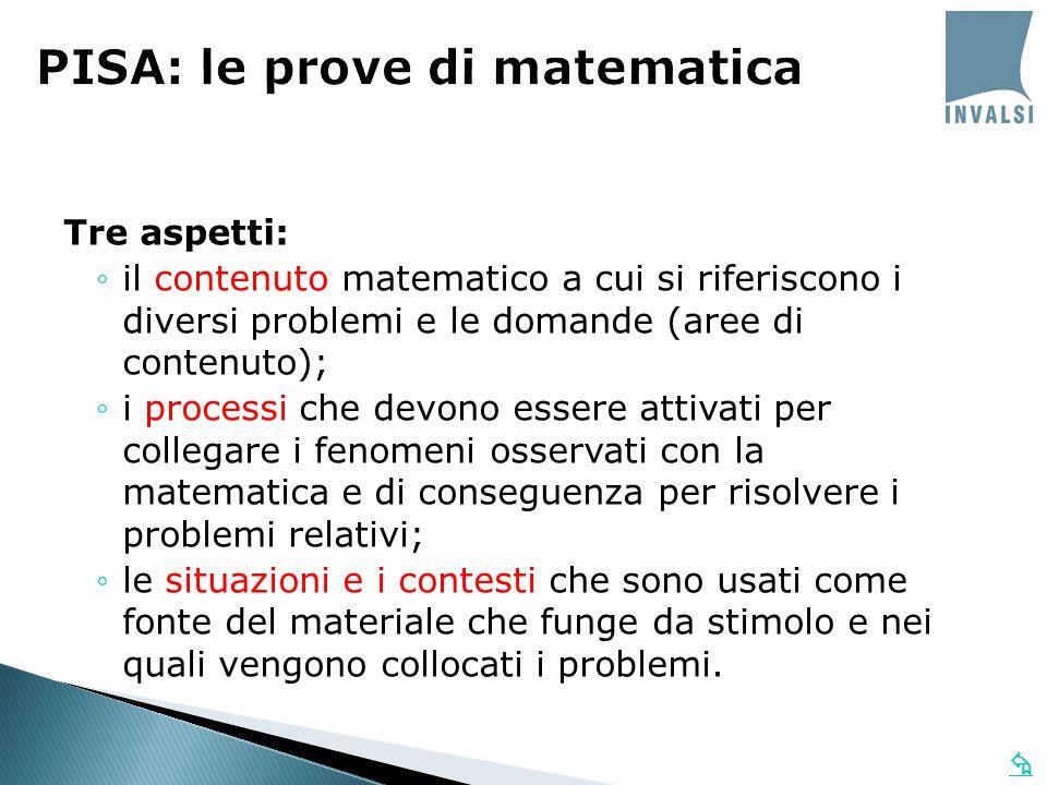 Tre aspetti: il contenuto matematico a cui si riferiscono i diversi problemi e le domande (aree di contenuto); i processi che devono essere attivati p
