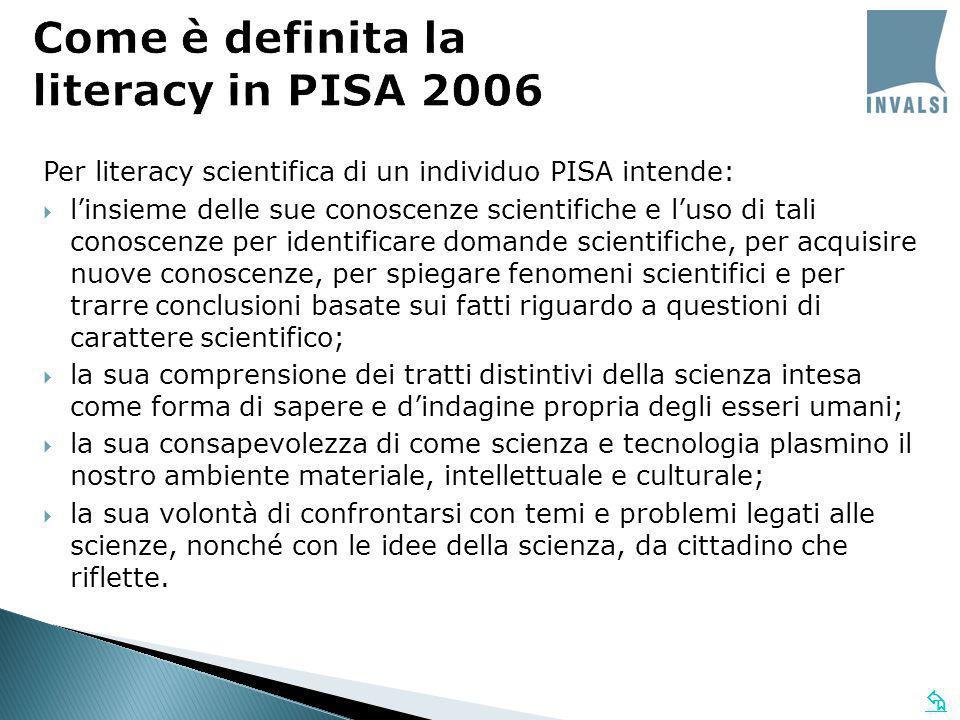 Per literacy scientifica di un individuo PISA intende: linsieme delle sue conoscenze scientifiche e luso di tali conoscenze per identificare domande s