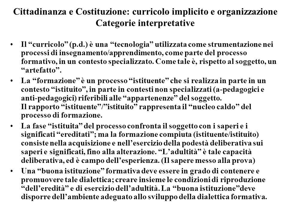Cittadinanza e Costituzione: curricolo implicito e organizzazione Categorie interpretative Il curricolo (p.d.) è una tecnologia utilizzata come strume
