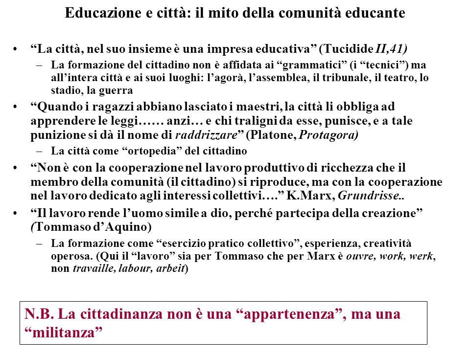 Educazione e città: il mito della comunità educante La città, nel suo insieme è una impresa educativa (Tucidide II,41) –La formazione del cittadino no