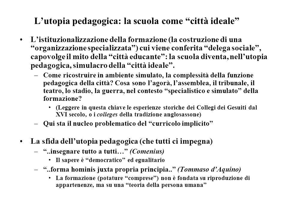 Lutopia pedagogica: la scuola come città ideale Listituzionalizzazione della formazione (la costruzione di una organizzazione specializzata) cui viene