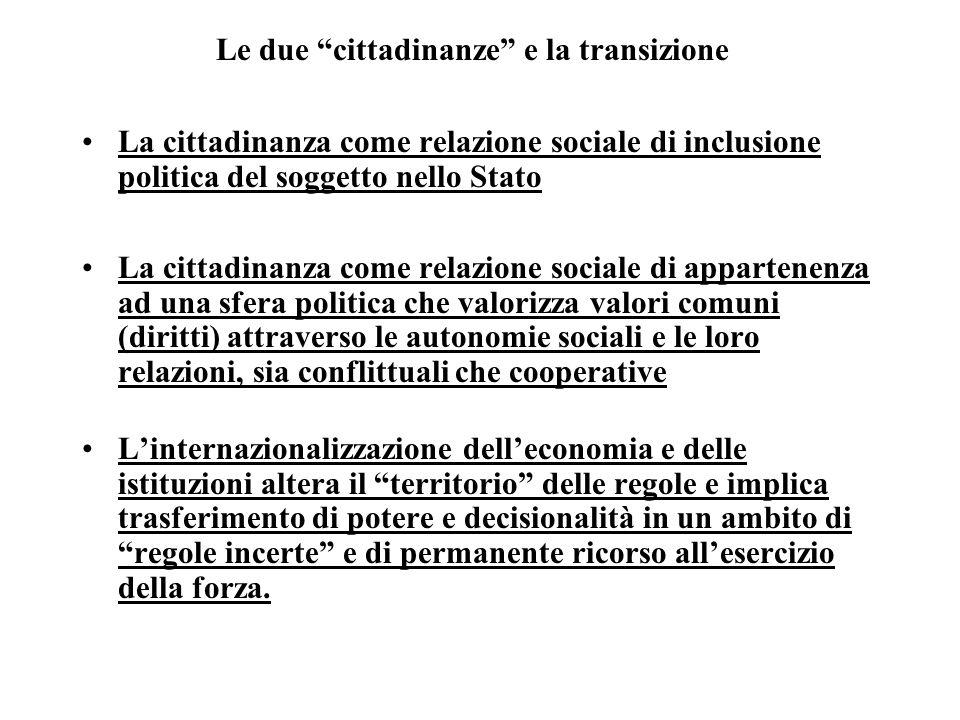 Le due cittadinanze e la transizione La cittadinanza come relazione sociale di inclusione politica del soggetto nello Stato La cittadinanza come relaz