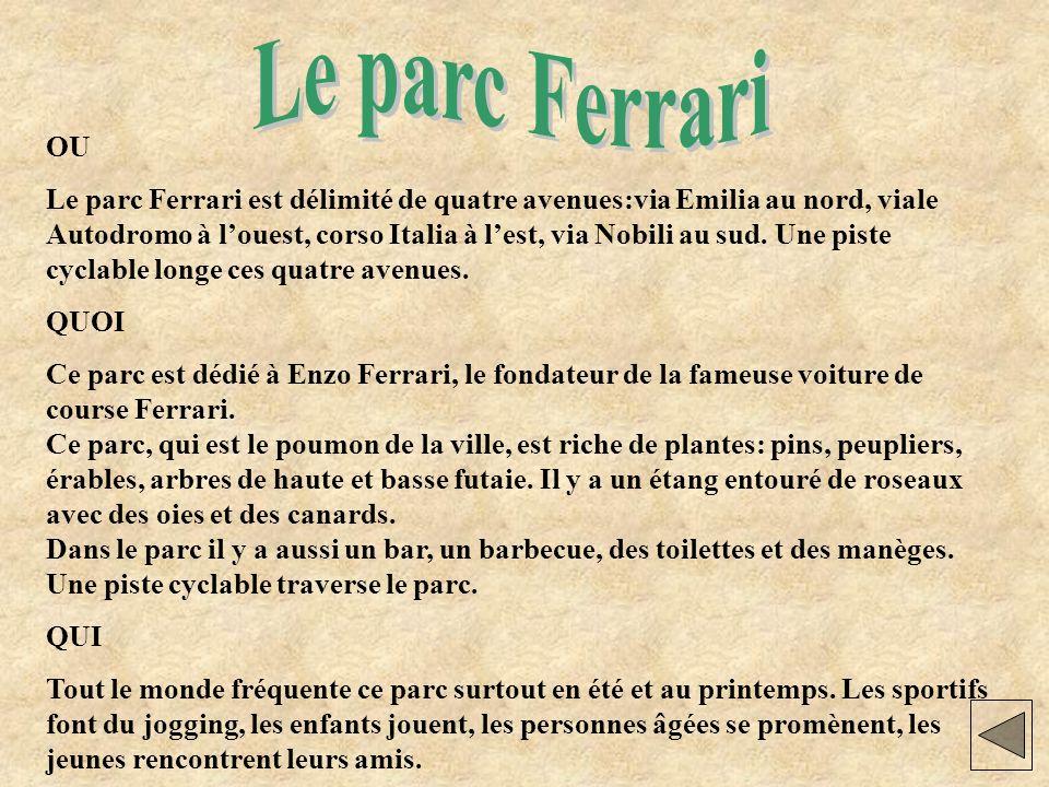 Dove Il Parco Ferrari è delimitato da quattro viali: via Emilia a nord, viale Autodromo a ovest, Corso Italia a est e via Nobili a sud.