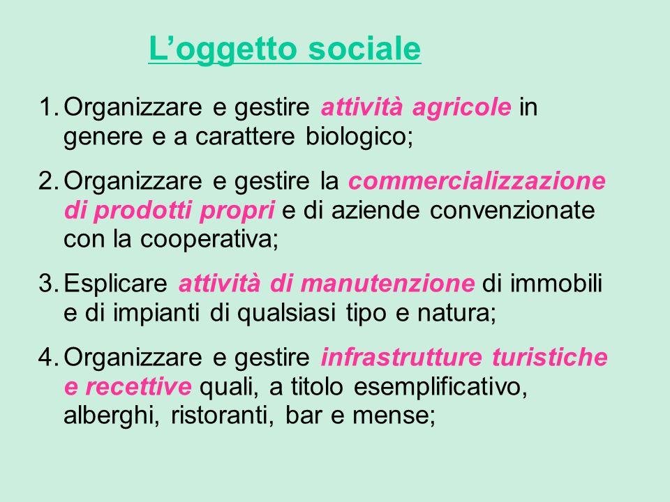 Loggetto sociale 1.Organizzare e gestire attività agricole in genere e a carattere biologico; 2.Organizzare e gestire la commercializzazione di prodot