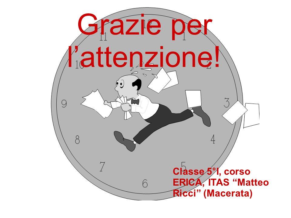 Grazie per lattenzione! Classe 5°I, corso ERICA, ITAS Matteo Ricci (Macerata)