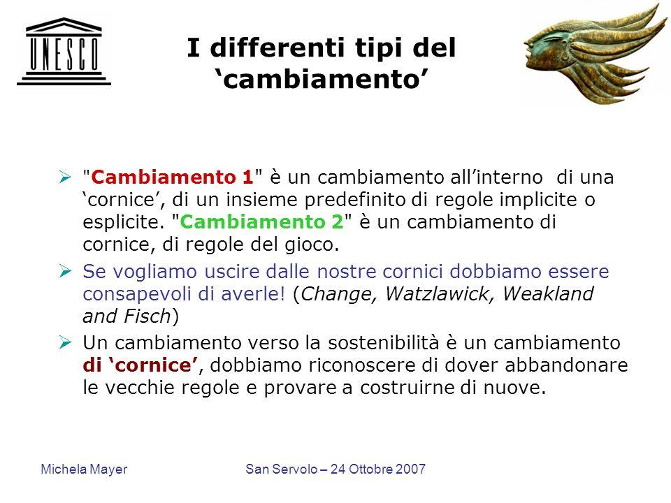Michela MayerSan Servolo – 24 Ottobre 2007 I differenti tipi del cambiamento