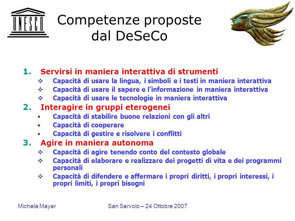 Michela MayerSan Servolo – 24 Ottobre 2007 Competenze proposte dal DeSeCo 1. Servirsi in maniera interattiva di strumenti Capacità di usare la lingua,