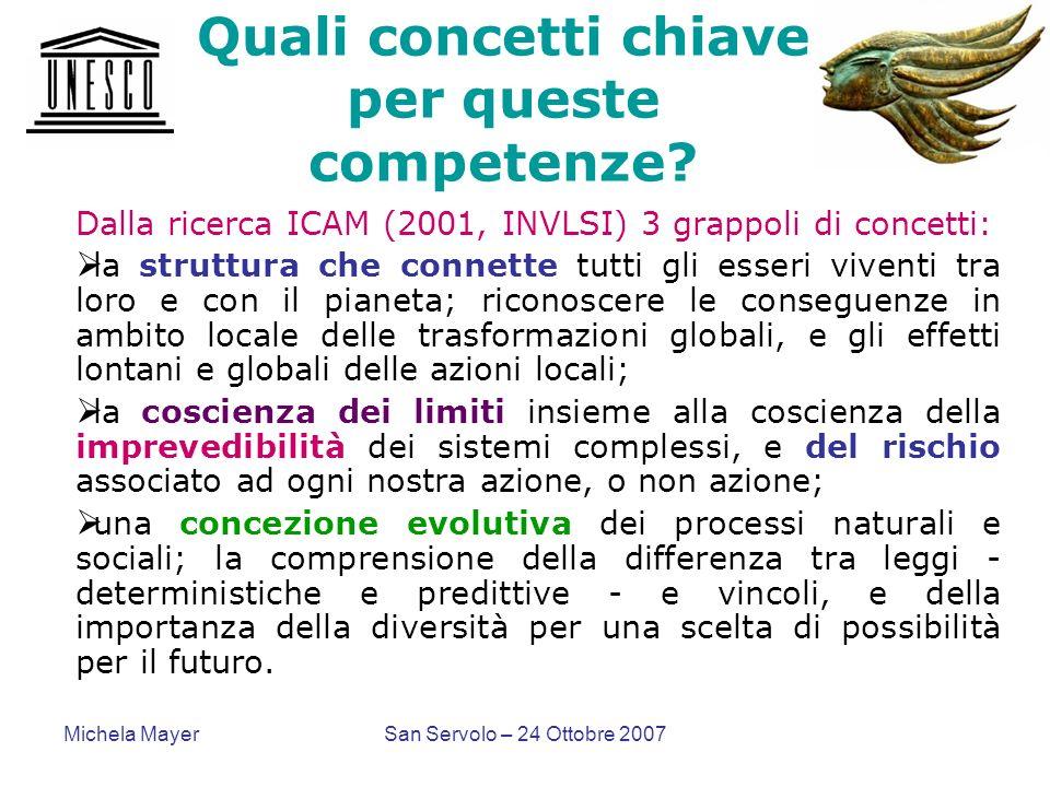 Michela MayerSan Servolo – 24 Ottobre 2007 Quali concetti chiave per queste competenze? Dalla ricerca ICAM (2001, INVLSI) 3 grappoli di concetti: la s