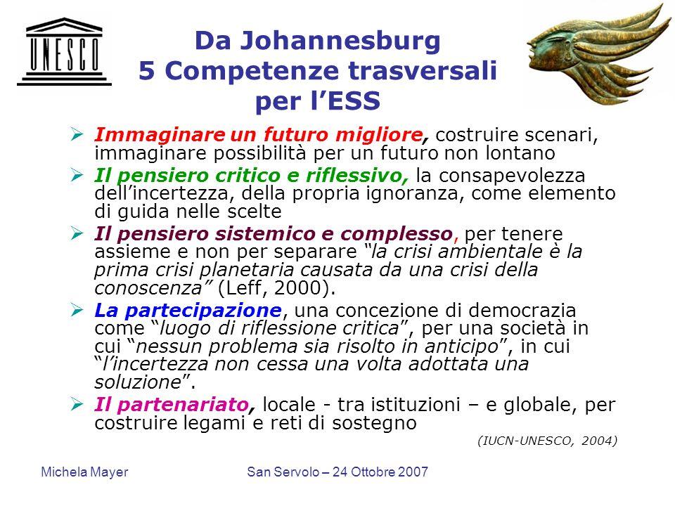 Michela MayerSan Servolo – 24 Ottobre 2007 Da Johannesburg 5 Competenze trasversali per lESS Immaginare un futuro migliore, costruire scenari, immagin