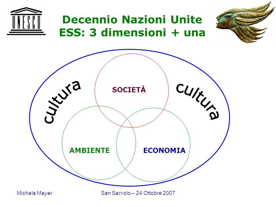 Michela MayerSan Servolo – 24 Ottobre 2007 Decennio Nazioni Unite ESS: 3 dimensioni + una SOCIETÀ AMBIENTE ECONOMIA
