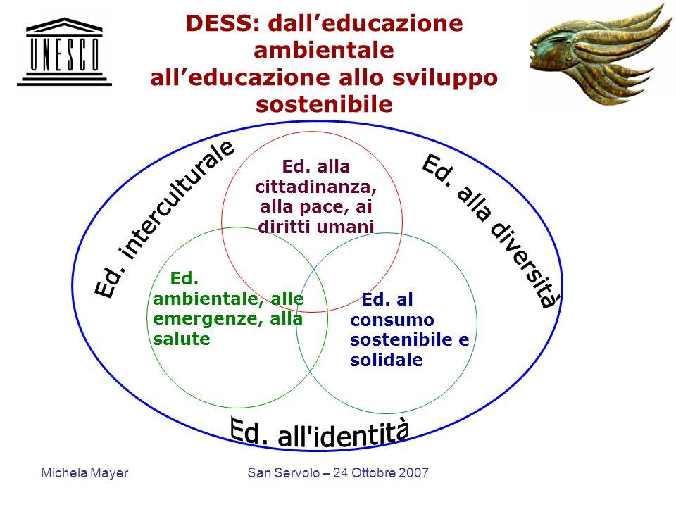 Michela MayerSan Servolo – 24 Ottobre 2007 DESS: dalleducazione ambientale alleducazione allo sviluppo sostenibile Ed. alla cittadinanza, alla pace, a