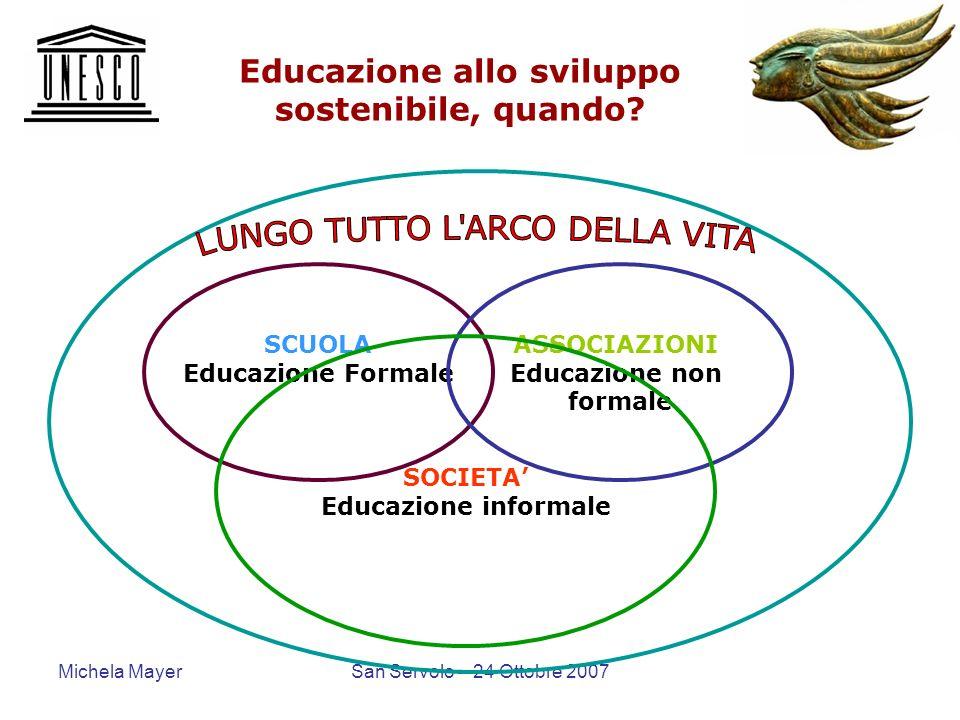 Michela MayerSan Servolo – 24 Ottobre 2007 Educazione allo sviluppo sostenibile, quando? SCUOLA Educazione Formale ASSOCIAZIONI Educazione non formale