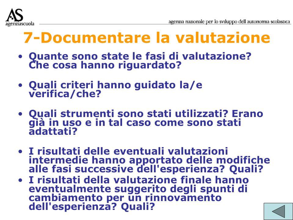 7-Documentare la valutazione Quante sono state le fasi di valutazione? Che cosa hanno riguardato? Quali criteri hanno guidato la/e verifica/che? Quali