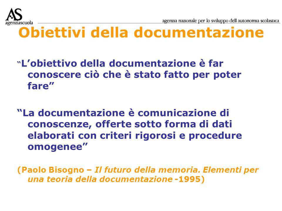 Obiettivi della documentazione Lobiettivo della documentazione è far conoscere ciò che è stato fatto per poter fare La documentazione è comunicazione