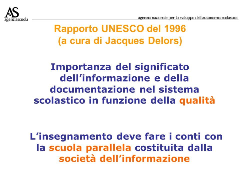 Rapporto UNESCO del 1996 (a cura di Jacques Delors) Importanza del significato dellinformazione e della documentazione nel sistema scolastico in funzi