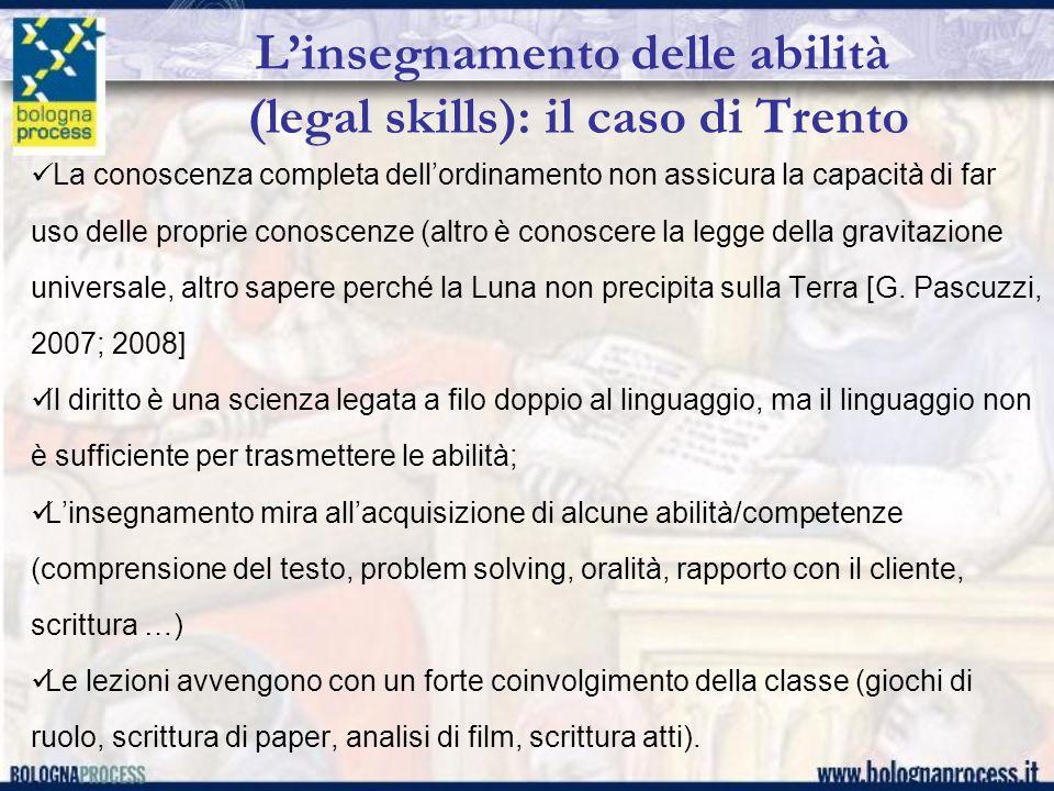 Linsegnamento delle abilità (legal skills): il caso di Trento La conoscenza completa dellordinamento non assicura la capacità di far uso delle proprie