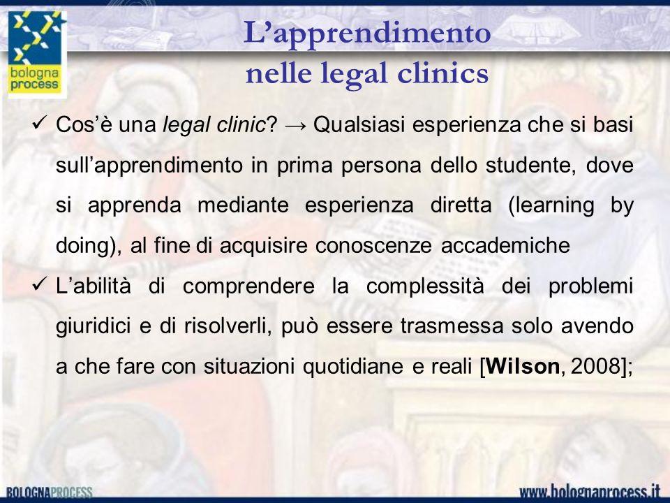 Lapprendimento nelle legal clinics Cosè una legal clinic? Qualsiasi esperienza che si basi sullapprendimento in prima persona dello studente, dove si