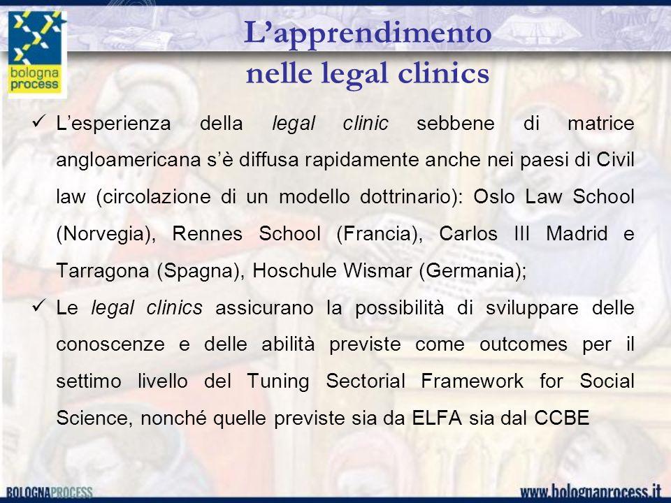 Lapprendimento nelle legal clinics Lesperienza della legal clinic sebbene di matrice angloamericana sè diffusa rapidamente anche nei paesi di Civil la