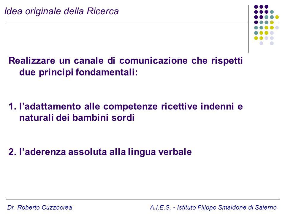 Dr. Roberto Cuzzocrea A.I.E.S. - Istituto Filippo Smaldone di Salerno Realizzare un canale di comunicazione che rispetti due principi fondamentali: 1.