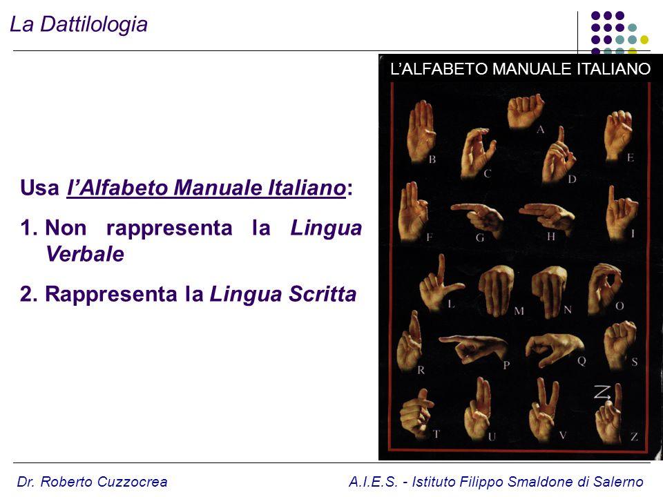 Dr. Roberto Cuzzocrea A.I.E.S. - Istituto Filippo Smaldone di Salerno Usa lAlfabeto Manuale Italiano: 1.Non rappresenta la Lingua Verbale 2.Rappresent