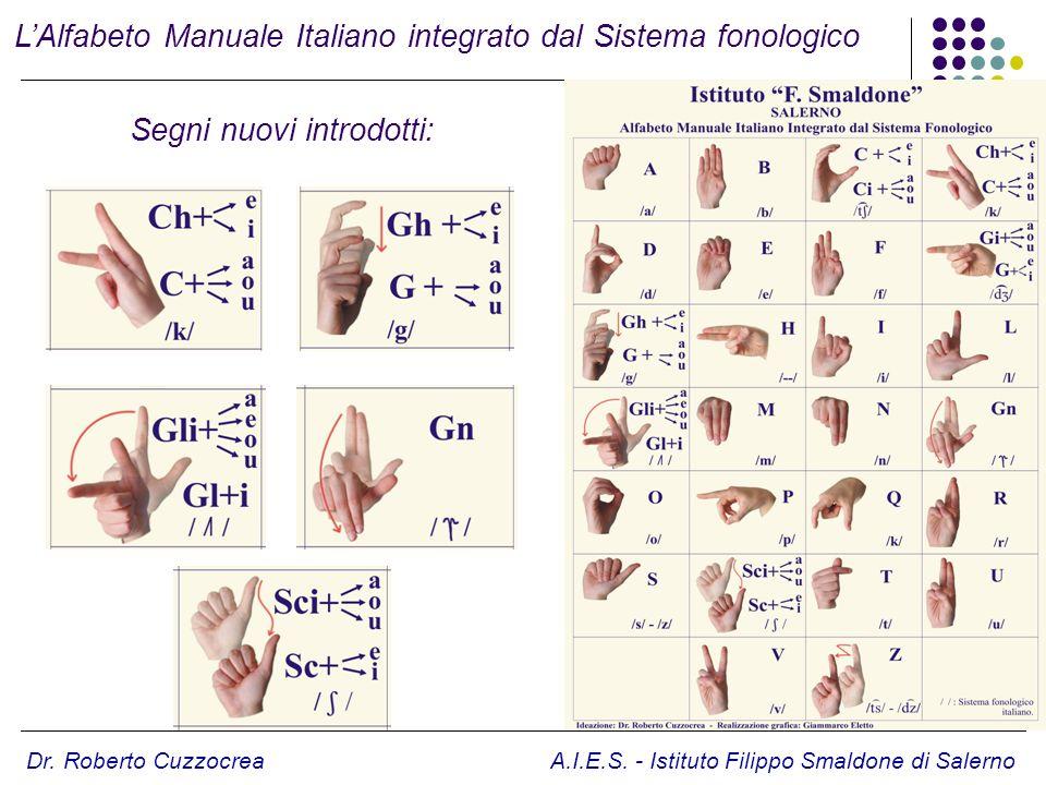 Dr. Roberto Cuzzocrea A.I.E.S. - Istituto Filippo Smaldone di Salerno LAlfabeto Manuale Italiano integrato dal Sistema fonologico Segni nuovi introdot