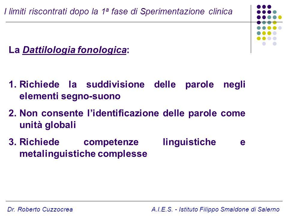Dr. Roberto Cuzzocrea A.I.E.S. - Istituto Filippo Smaldone di Salerno La Dattilologia fonologica: 1.Richiede la suddivisione delle parole negli elemen