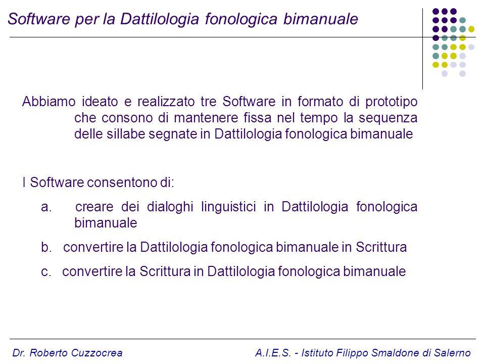 Software per la Dattilologia fonologica bimanuale Abbiamo ideato e realizzato tre Software in formato di prototipo che consono di mantenere fissa nel