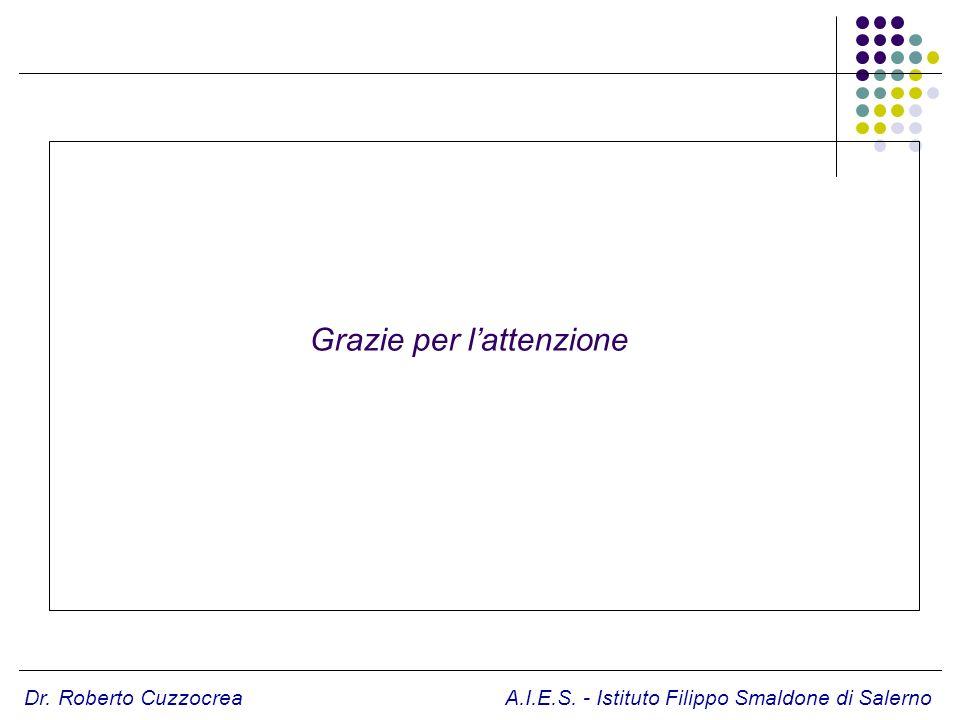 Dr. Roberto Cuzzocrea A.I.E.S. - Istituto Filippo Smaldone di Salerno Grazie per lattenzione