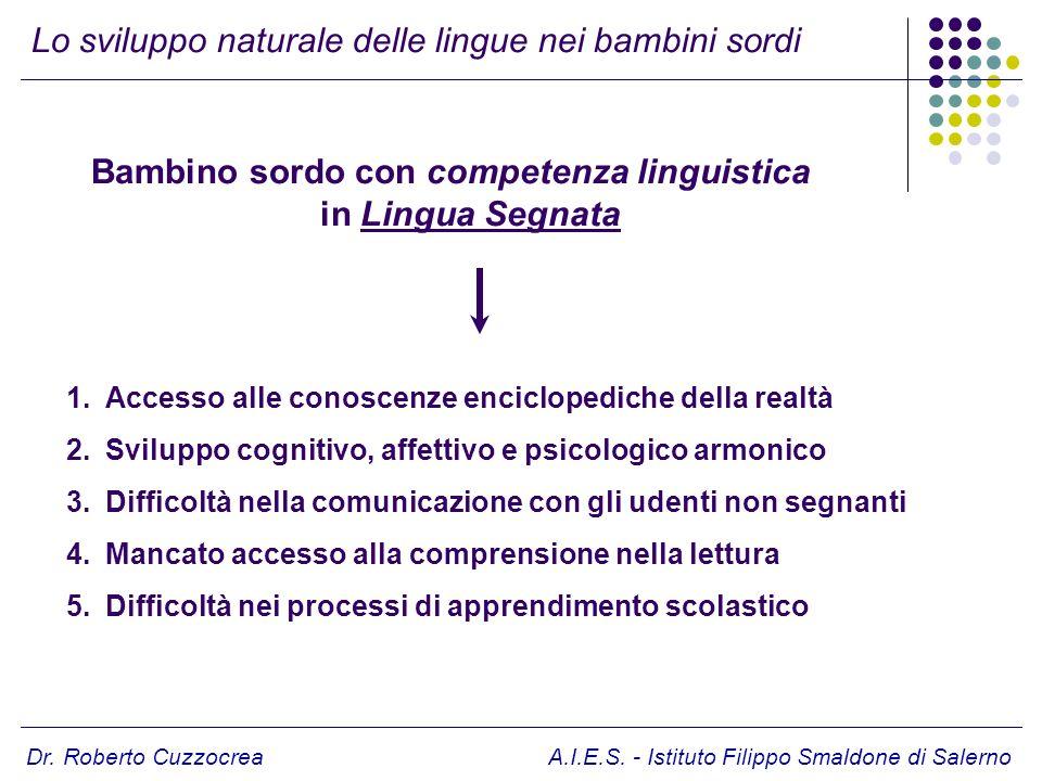 Dr. Roberto Cuzzocrea A.I.E.S. - Istituto Filippo Smaldone di Salerno Bambino sordo con competenza linguistica in Lingua Segnata Lo sviluppo naturale