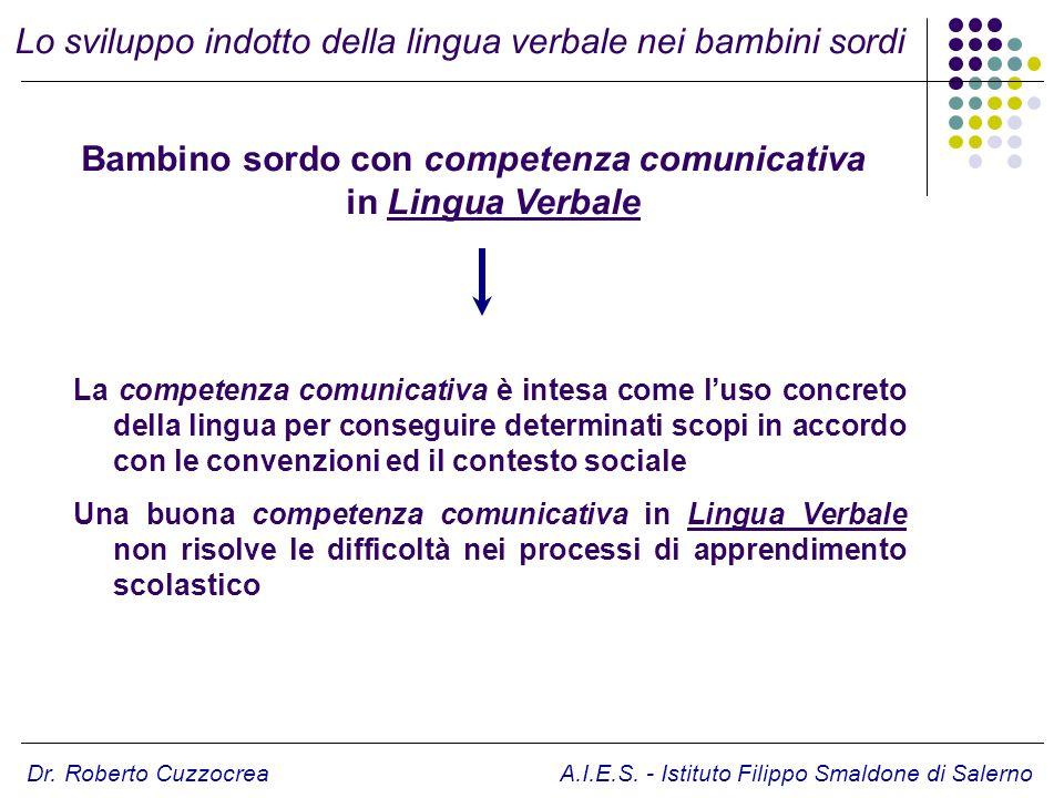 Dr. Roberto Cuzzocrea A.I.E.S. - Istituto Filippo Smaldone di Salerno La competenza comunicativa è intesa come luso concreto della lingua per consegui