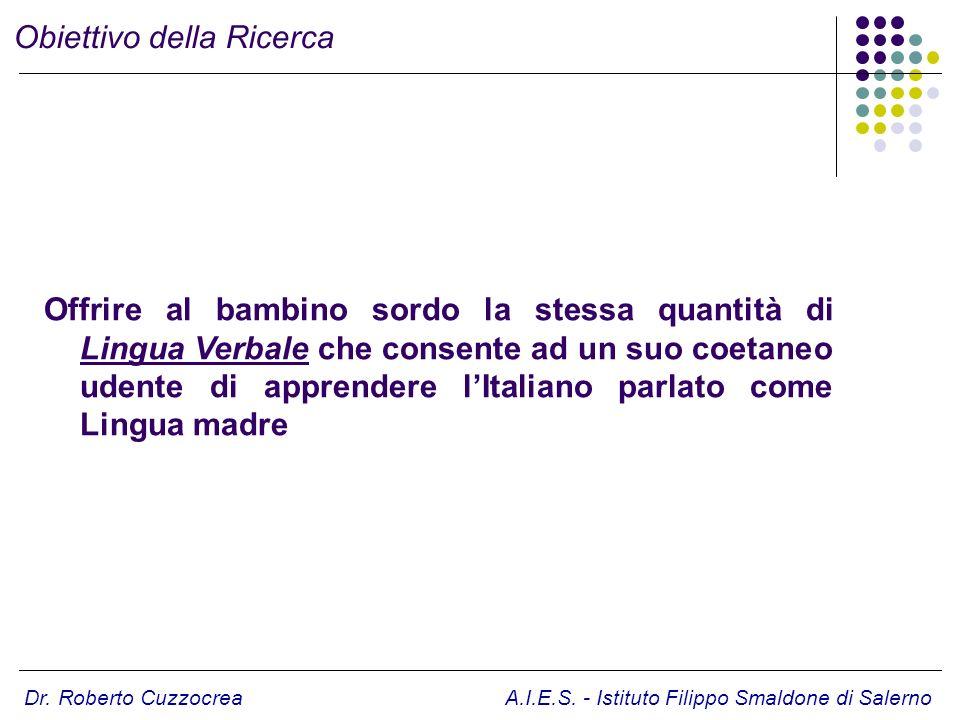 Offrire al bambino sordo la stessa quantità di Lingua Verbale che consente ad un suo coetaneo udente di apprendere lItaliano parlato come Lingua madre
