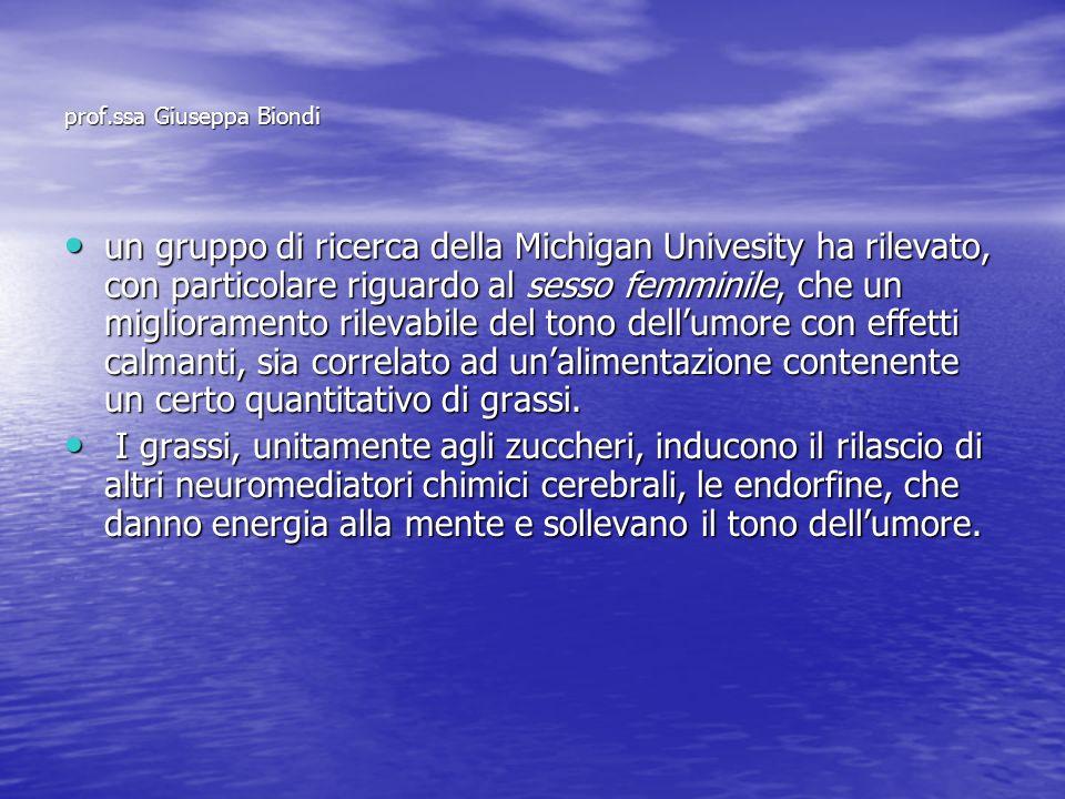 prof.ssa Giuseppa Biondi un gruppo di ricerca della Michigan Univesity ha rilevato, con particolare riguardo al sesso femminile, che un miglioramento