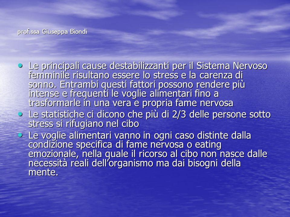 prof.ssa Giuseppa Biondi Le principali cause destabilizzanti per il Sistema Nervoso femminile risultano essere lo stress e la carenza di sonno. Entram