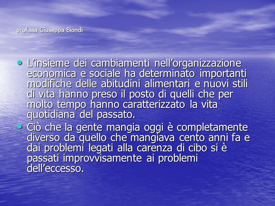 prof.ssa Giuseppa Biondi Linsieme dei cambiamenti nellorganizzazione economica e sociale ha determinato importanti modifiche delle abitudini alimentar