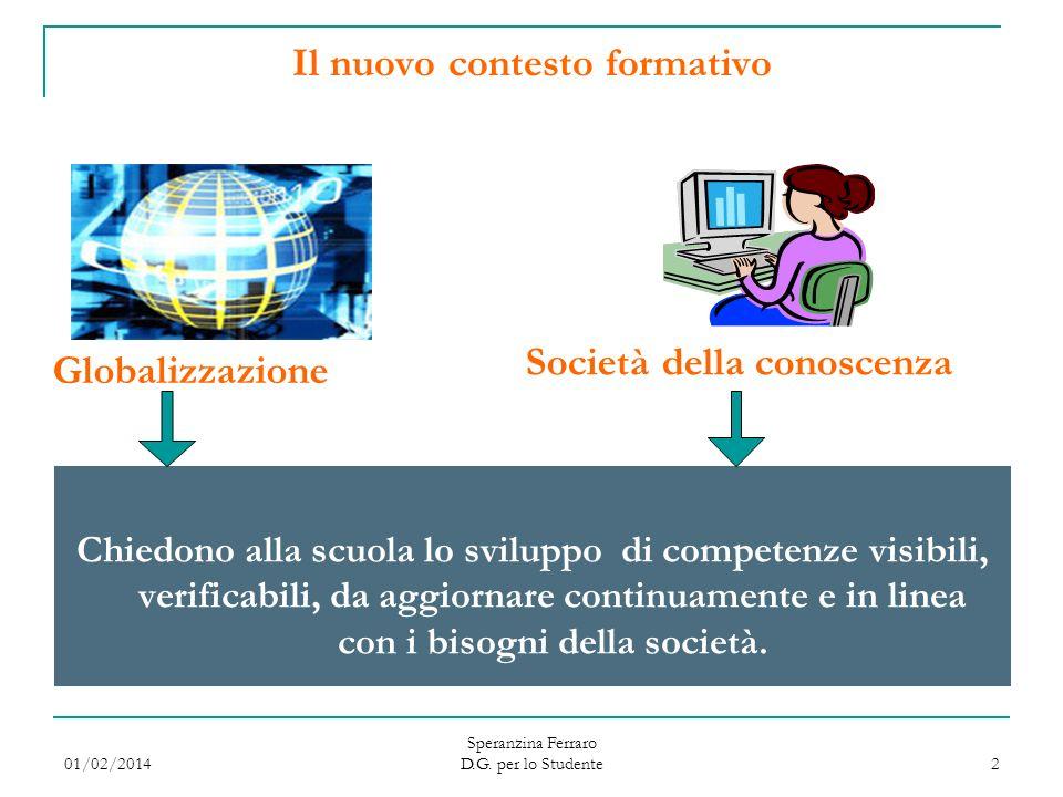 01/02/2014 Speranzina Ferraro D.G. per lo Studente 2 Il nuovo contesto formativo Chiedono alla scuola lo sviluppo di competenze visibili, verificabili