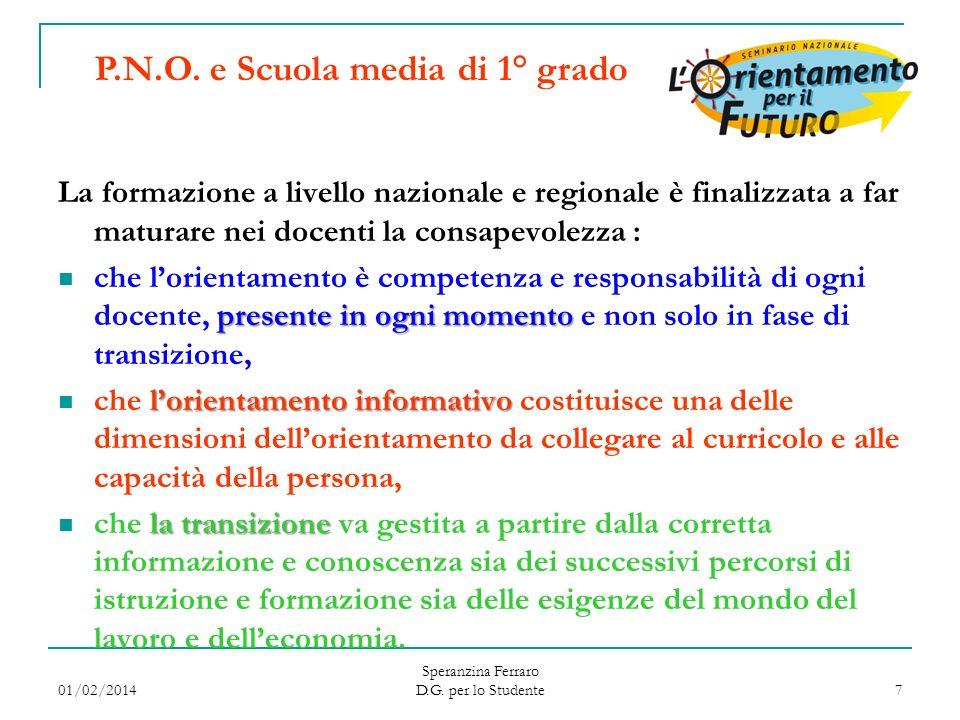 01/02/2014 Speranzina Ferraro D.G. per lo Studente 7 La formazione a livello nazionale e regionale è finalizzata a far maturare nei docenti la consape
