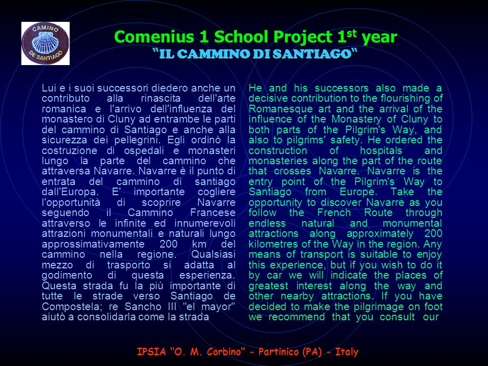 IPSIA O. M. Corbino - Partinico (PA) - Italy Comenius 1 School Project 1 st year Go back