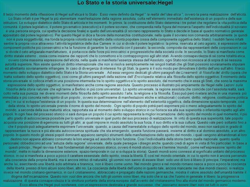 Lo Stato e la storia universale:Hegel Il terzo momento della riflessione di Hegel sull'etica è lo Stato. Esso viene definito da Hegel