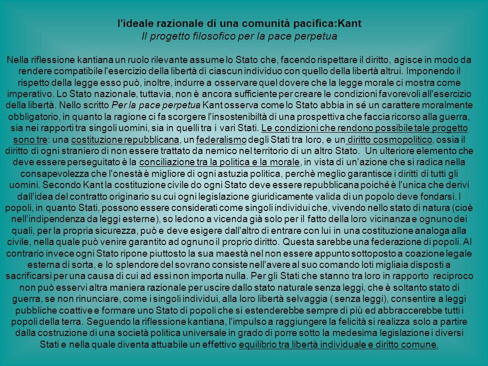 I'ideale razionale di una comunità pacifica:Kant Il progetto filosofico per la pace perpetua Nella riflessione kantiana un ruolo rilevante assume lo S