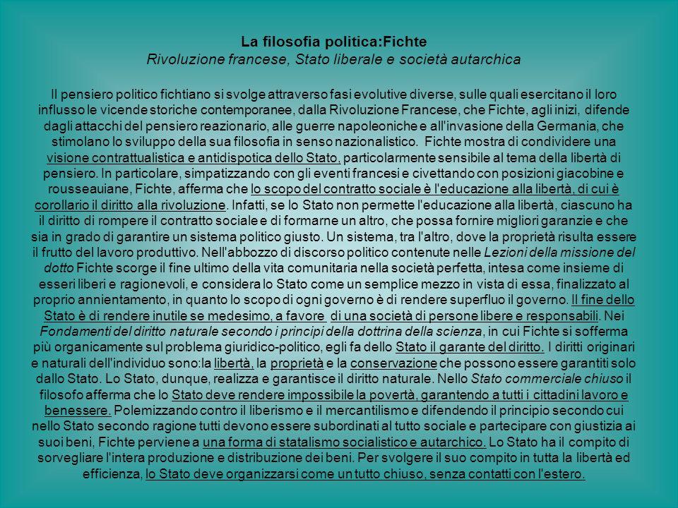 La filosofia politica:Fichte Rivoluzione francese, Stato liberale e società autarchica Il pensiero politico fichtiano si svolge attraverso fasi evolut