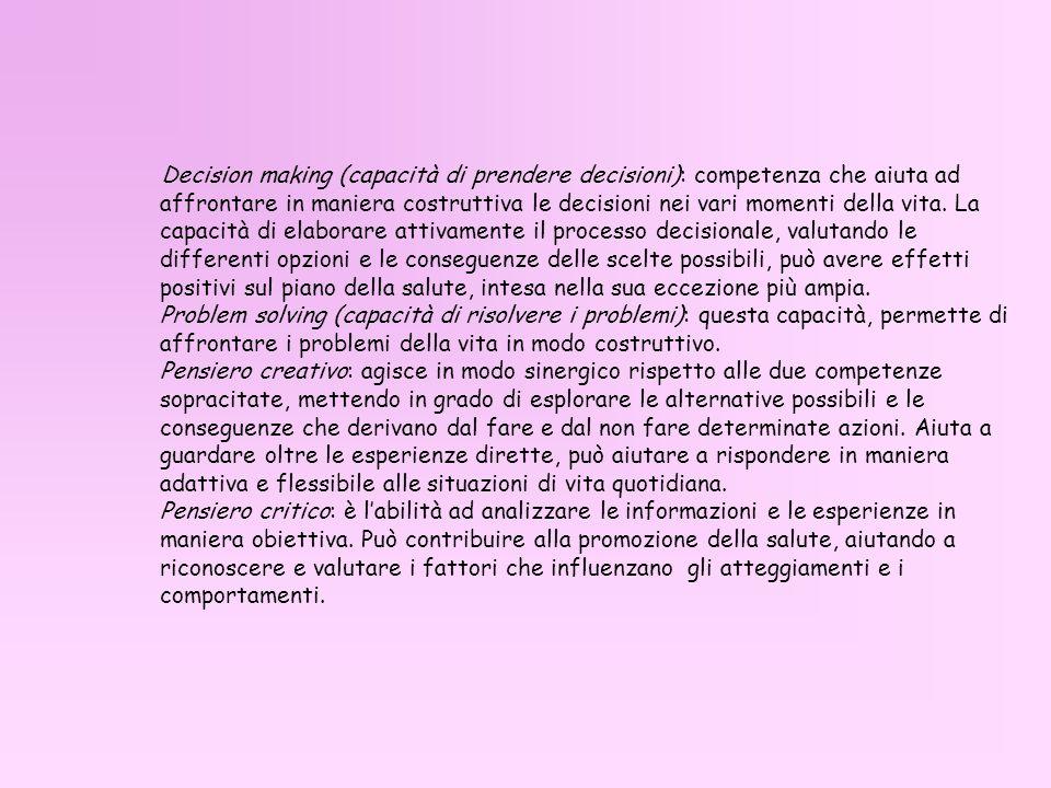 Decision making (capacità di prendere decisioni): competenza che aiuta ad affrontare in maniera costruttiva le decisioni nei vari momenti della vita.