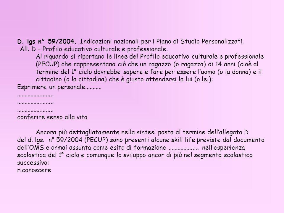 D. lgs n° 59/2004. Indicazioni nazionali per i Piano di Studio Personalizzati. All. D – Profilo educativo culturale e professionale. Al riguardo si ri