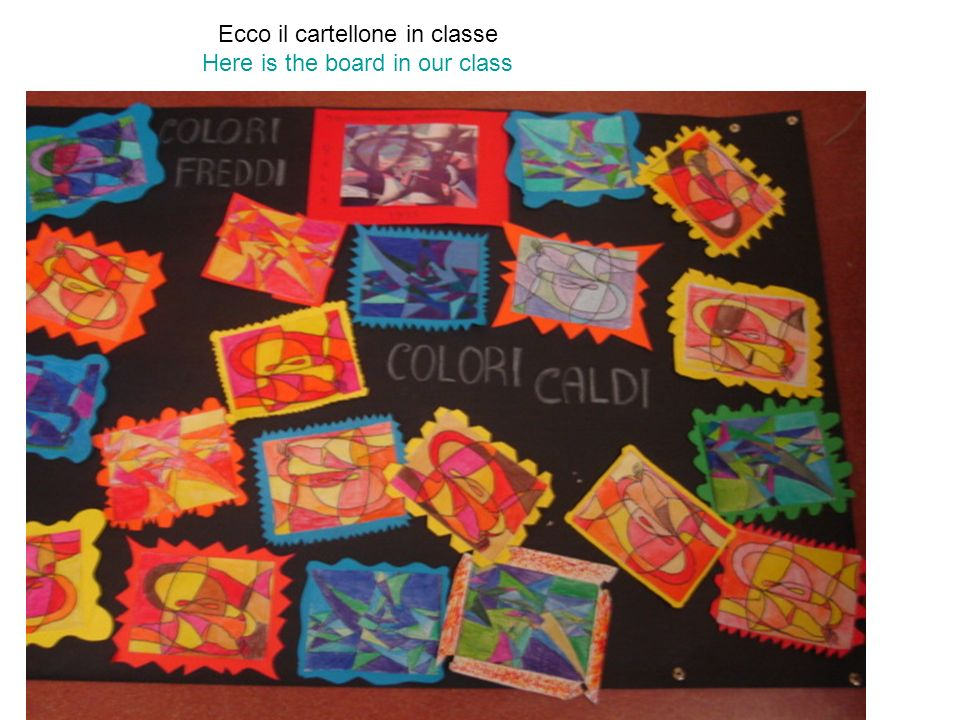 Ecco il cartellone in classe Here is the board in our class