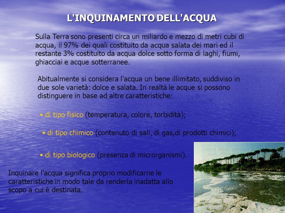 L INQUINAMENTO DELL ACQUA Sulla Terra sono presenti circa un miliardo e mezzo di metri cubi di acqua, il 97% dei quali costituito da acqua salata dei mari ed il restante 3% costituito da acqua dolce sotto forma di laghi, fiumi, ghiacciai e acque sotterranee.