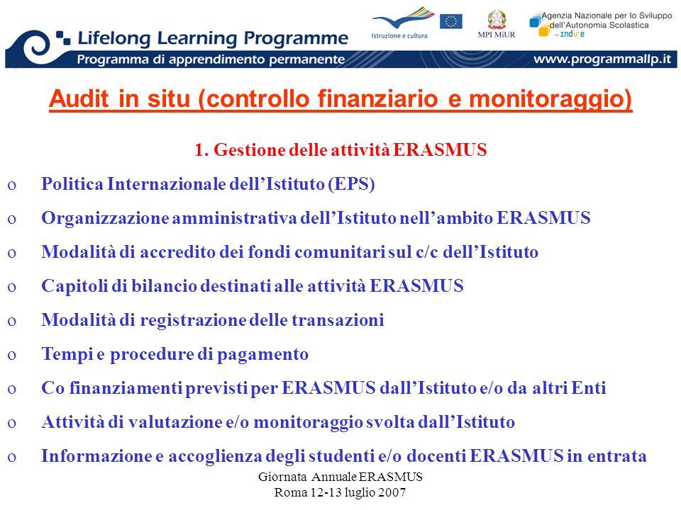 Giornata Annuale ERASMUS Roma 12-13 luglio 2007 Audit in situ (controllo finanziario e monitoraggio) 1. Gestione delle attività ERASMUS oPolitica Inte