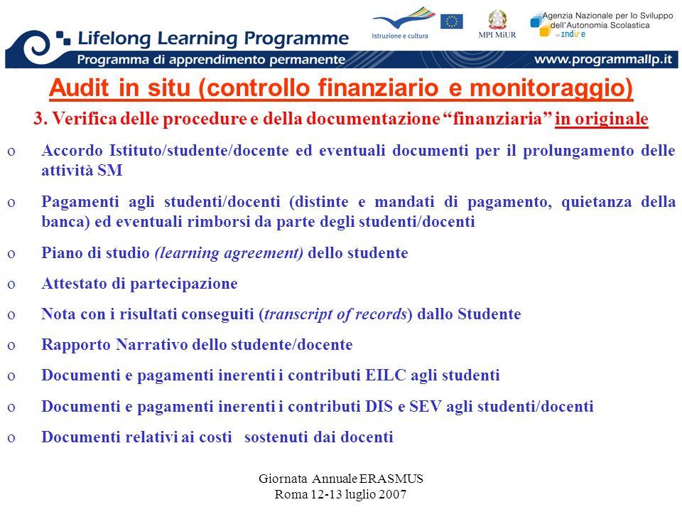 Giornata Annuale ERASMUS Roma 12-13 luglio 2007 Audit in situ (controllo finanziario e monitoraggio) 3. Verifica delle procedure e della documentazion